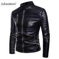 Schinteon мужчины искусственная кожа байкер мотоцикл куртка стенд воротник Slim Fit верхняя одежда искусственная кожа повседневная пальто молния