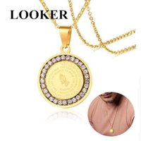 Heren bijbel vers gebed cz ketting christelijke sieraden goud zilver roestvrij staal bidden handen munten medaille hanger kettingen