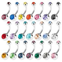 20pcs 14G Mix Body Jewelry Piercing Cristal doble joya del vientre barra de botón botón TOP