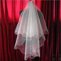 Due strati tulle brevi veli da sposa con perle 2019 vendita calda accessorio da sposa a buon mercato per abiti da sposa a buon mercato netto di nozze in magazzino