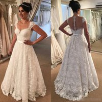 Romantic White Ivory Lace Wedding Dresses 2018 A Line Sheer ...