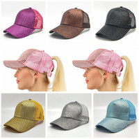 10 Colors CC Glitter Ponytail Ball Cap Messy Buns Trucker Po...
