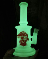 glow in the dark glass bong with hammer perc and mushroom ph...