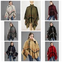 12styles Plaid Poncho Tassel Shawl Knitted Coat Women winter...