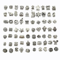 70 styles tibet Silver Big Hole Beads for European Charm Bra...