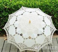Sombrilla nupcial de color hecho a mano Battenburg 100% Algodón bordado de encaje paraguas paraguas boda elegante boda alta calidad