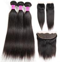 Дешевые прямые 8А бразильские пучки человеческих волос с фронтальной 100% необработанные девственные волосы утки пучки с закрытием расширений Оптовая