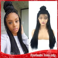 High Quality 1b 27 613# Box Braids Wigs with Baby Hair Heat ...