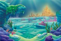 Księżniczka Little Mermaid Baby Kids Birthday Party Backdrop Drukowane Zamek Złoty Pod Mórz Koralami Dzieci Cartoon Photography Tła
