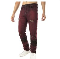 Men' s Red Biker Jeans Slim Holes Ripped Distressed Stre...
