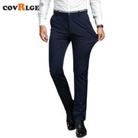 Covrlge 2018 Yaz Erkek Uzun Pantolon Moda Katı Slim Fit Man İş Günlük Pantolon Yüksek Elastik Erkek Pantolon tulumları MKZ005