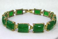 جميلة الطبيعية الخضراء اليشم الأحجار الكريمة سلسلة سوار من الذهب 7.5inch