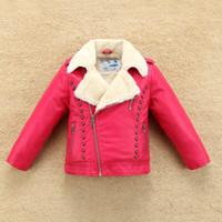 Nueva chaqueta de cuero térmica de lana gruesos Niño Niña con el cuello de la piel para el otoño invierno cabritos de la capa caliente Bombardero suave a prueba de agua