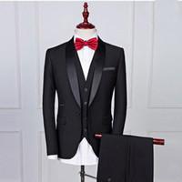 Черные свадебные смокинги для женихов 2017 Шаль отворот одна кнопка три части на заказ мужские костюмы (куртка + брюки + жилет)