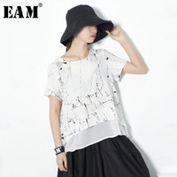 [EAM] 2018 Summer Fashion New Splatter Printed Short- sleeved...