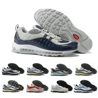 Discount 98 98s mens Stripe White blue bullet Running shoes ...