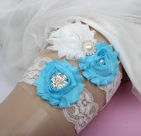 두 조각 레이스 웨딩 가터 세트 신부 수제 꽃 모조 다이아몬드 빈티지 레이스 웨딩 신부 다리 가터 2019 년 증권 저렴한