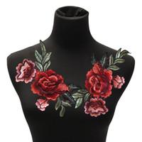DIY Roupas Busto Vestido Remandos Rose Flor 20 Pcs Collar Floral Costura No Remendo Bonito Applique Emblema Bordado Tecido Adesivo