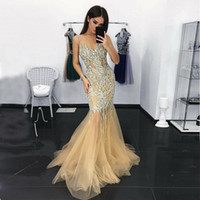 Sexy Mermaid Evening Dresses Spaghetti Straps Crystal Beadin...