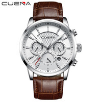 CUENA  Men Watches Leather Strap Stopwatch Luminous Hands Calendar 30M Waterproof Men's Wristwatch Quartz Male Watch Brown