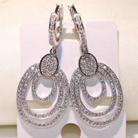 2018 New Arrival Exagero Jóias de Luxo 925 Sterling Silver nobre Pavimentar Branco Safira CZ Diamante Gota Dangle Brincos Para As Mulheres Presente