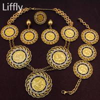 Liffly Clássico África Itália Abaya Conjuntos de Jóias Longas Moeda De Ouro Mulheres Dubai Casamento Colar de Cristal De Ouro Brincos Acessórios