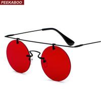 Peekaboo 2018 retro rodada óculos de sol dos homens sem aro de ouro preto  amarelo mulheres lente vermelha óculos de sol unisex vintage flat top metal bf6b9218b8