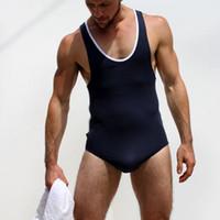 Luta dos homens Modal Sexy Forte Bodysuit Collant Wrestling Singlet Gay Moda Macacão Collant Traje Macacão Roupa Interior Undershirts