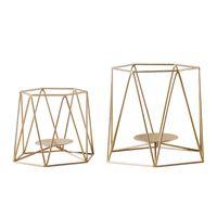 Portacandele geometrico in metallo Moderno Gold Ferro in Gold Tealight Stand Nordic Semplicity Home Decor per Eventi da pranzo da sposa