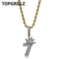 TOPGRILLZ Brilhante Coroa Número 7 Colar Pingente Encantos Para Os Homens De Cobre Cor De Ouro Zircão Cúbico Colar de Hip Hop Presentes Da Jóia