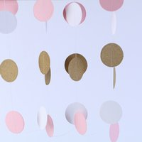 2 M Pink White Multicolor Sparkle Round Circle Paper Garland Flora String Wedding Birthday Baby Shower Party Decoración Suministros