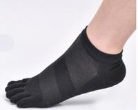Wholesale-2018 New Fashion Mens Womens Short Socks Breathable Mesh Cotton Line Five Fingers Socks Toe Sports Socks for All Seasons