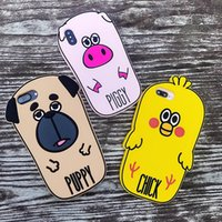 Fundas Lovely Piggy Puppy Chick 3D Rubber Phone Case For Iph...