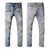 New Mens Distressed rasgado Biker Jeans Slim Fit Motociclista Denim For Men Moda Hip Hop Jeans Mens Boa Qualidade