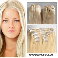"""인간의 머리카락 확장 스트레이트 16 """"-24""""에서 인도의 레미 클립 머리카락 저렴한 머리카락에 금발의 클립 클립"""