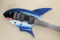 Shark Modell med 24 Twos Blue Electric Guitar Personlighet Shark Skräddarsy Shark Product Travel Guitar