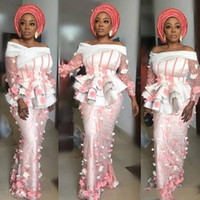 Aso Ebi Prom Dresses 3D Appliques Sheer Long Sleeves Evening...