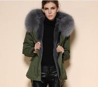 Meifeng marca moda cinza forro de pele de coelho exército verde mini canvas parkas com pródigo pele de guaxinim com capuz mulheres casacos de neve para o tempo frio