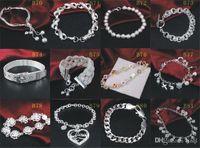 Marka Yeni 925 Ayar Gümüş Bilezik Takı Karışık Stil 925 Gümüş Bilezik Bileklik Takı kadın Düğün Hediyesi 20 adet / grup