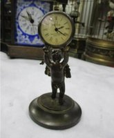 Collectible Decorated Old Handwork angel Table clock Metal M...