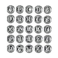 Authentische 925 Sterling Silber Vintage A-Z Brief Alphabet Charms Fit Original WST Charme Armbänder Armreifen Silber Schmuck