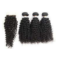 Human Hair Weave Bundles With Lace Closure Brazilian Kinky C...