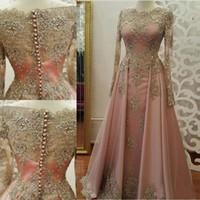 Spedizione gratuita Modest Blush Pink Prom Dresses 2019 maniche lunghe Appliques di pizzo cristallo abiti da partito da sera abiti da sera vestidos de novia