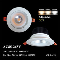 LED Celing Spotlight 7W 12W COB Downlight com CE RoHS ajustável Temperatura de Cor 4 '' 6 '' polegadas Energy Saving Lamp aparelho de iluminação