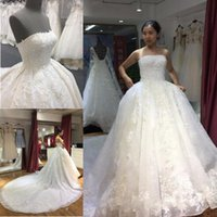 Hight Quality Elegant A Line Wedding Dresses Straepless Slee...