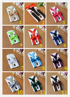 26colors Kids Suspenders Bow Tie Set для 1-10T Baby Braces Elastic Y-back Boys Girls Подвески аксессуары