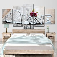 Canvas HD Prints Pictures Living Wall Wall Art 5 Pieces Love Romantic Words Живопись Ресторан Home Decor Rose Poster