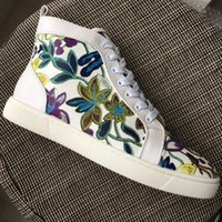 New Mens Womens Printed Flowers White Leather High Top Red B...