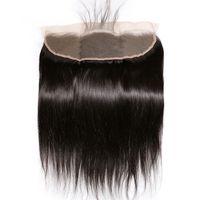 Кружевная лобное закрытие Прямо 13x4 Бразильские Реми Волосы Отбеленные Узлы с Детские Волосы Предварительно сорванные волосы