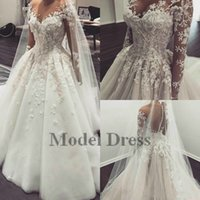 Illusion Langarm Ballkleid Brautkleider Made in China Sheer Hals 3D Appliques Buttons Moderne Brautkleider Vestidos de Noiva